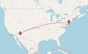 ニューヨークからフェニックスまで地図