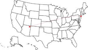 ニューヨークからアリゾナまで地図