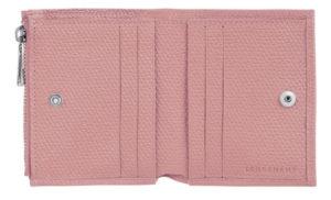 ロンシャン コンパクト財布ピンク 開いた写真