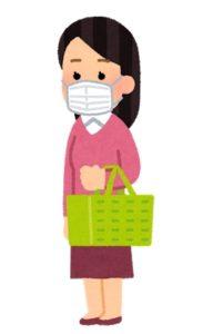 マスクして、スーパーで買い物