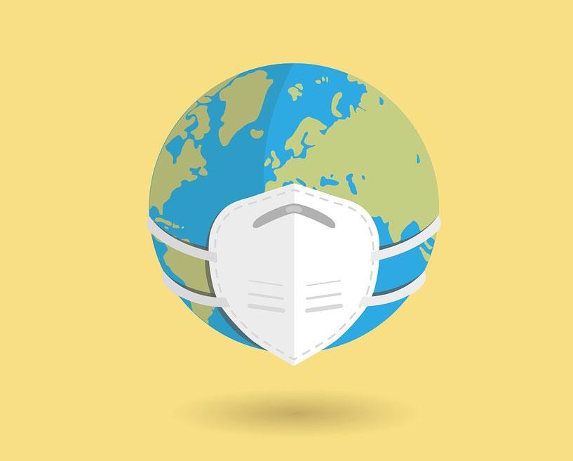 地球全体がマスクしている画像