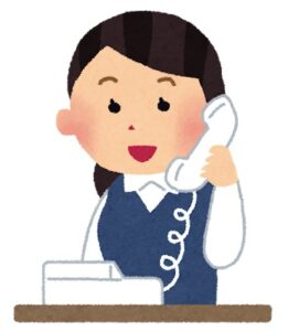 電話をする女性社員のイラスト